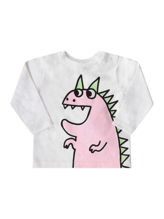 Stella McCartney Kids White Babygirl T-shirt With Colorful Dragon