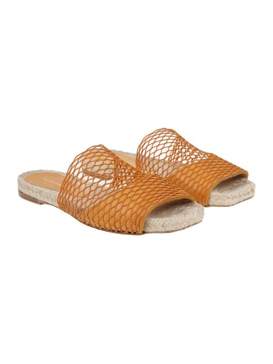 Paloma Barceló Paloma Barcelo 'maribel Sandal In Mustard Leather And Net