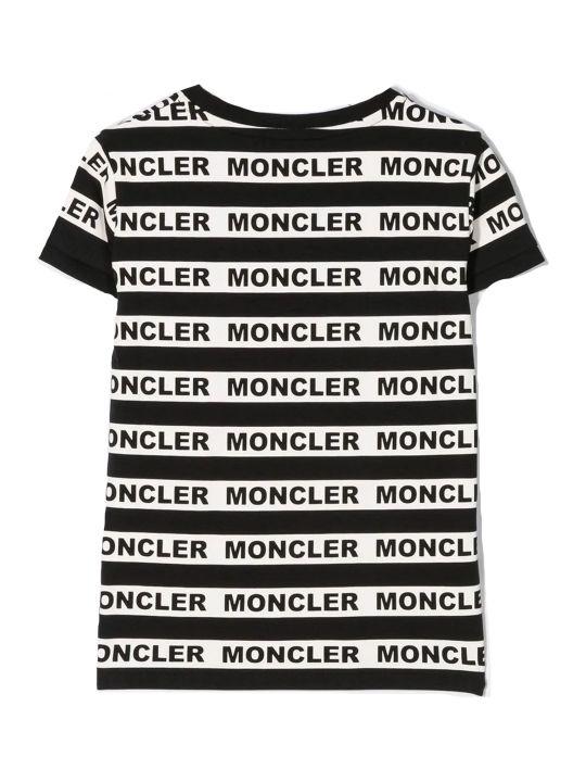 Moncler Black Cotton Blend Striped T-shirt