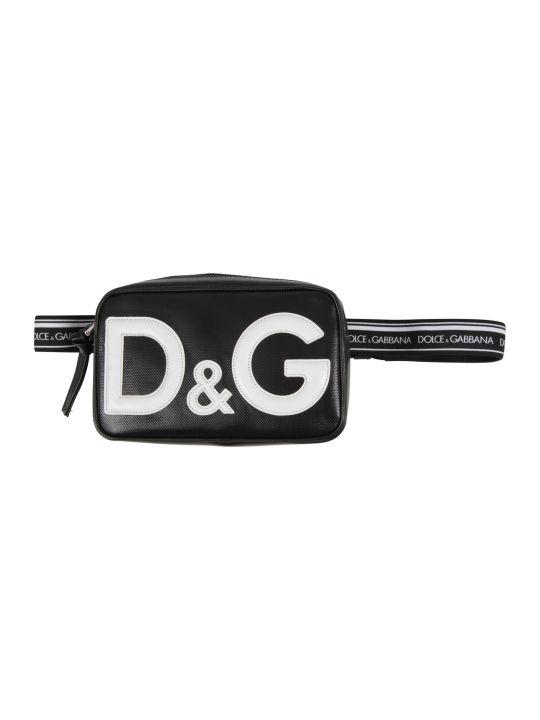 Dolce & Gabbana Black Kids Bum Bag With White Logo