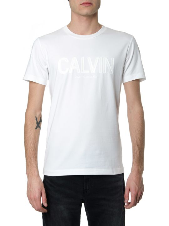 Calvin Klein White Cotton T-shirt With Embossed Logo