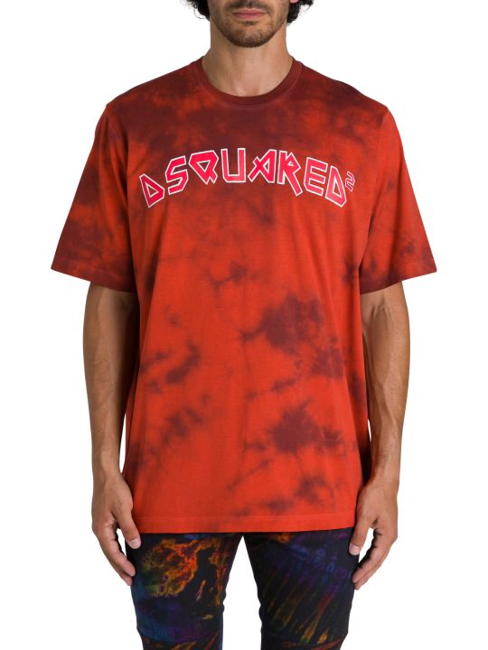 Dsquared2 T-shirt Girocollo A Maniche Corte Tie And Dye Con  Logo