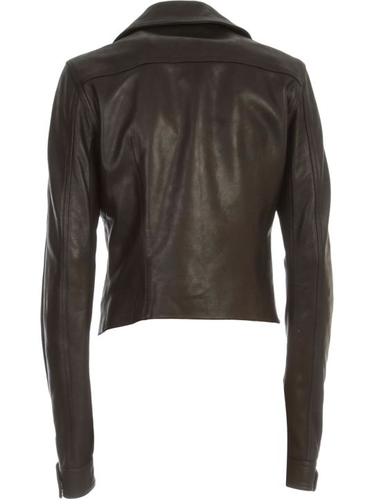 Rick Owens Dracuniker Jacket Leather Short W/zip On Sleeve