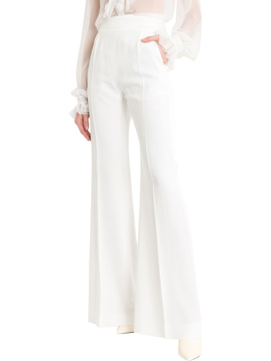 Alberta Ferretti Flare Smocking Trousers With Satin Band