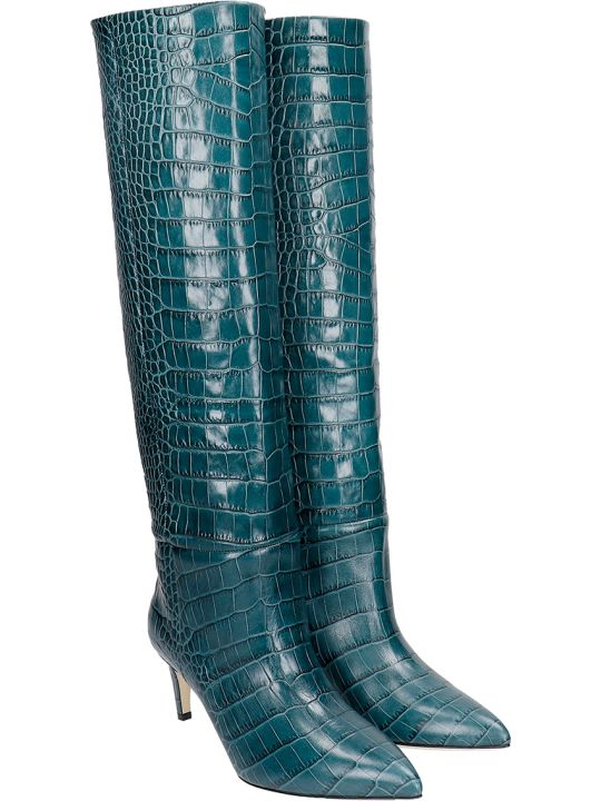 Paris Texas Low Heels Boots In Green Leather
