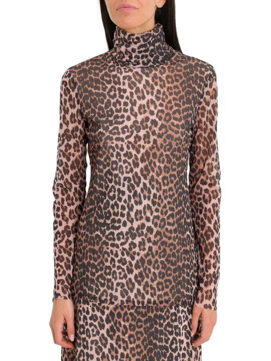 Ganni Leopard Motif Turtleneck