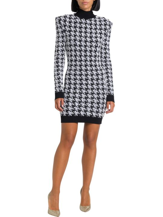 Balmain Houndstooth Tweed Crochet Dress