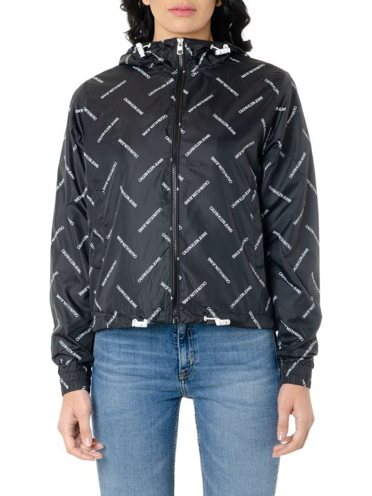 Calvin Klein All Over Logo Print Shell Jacket
