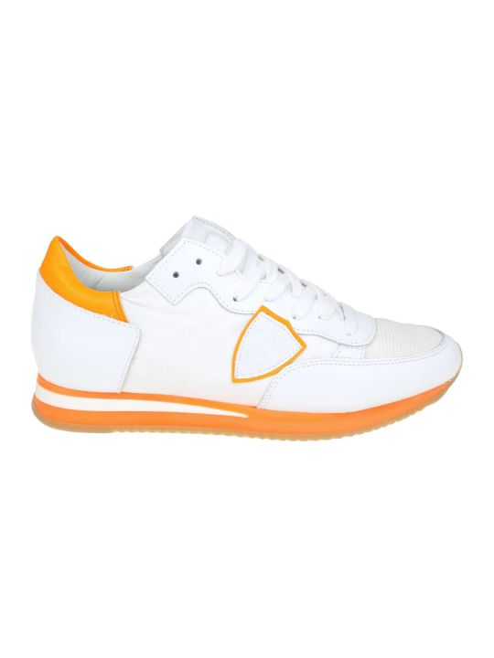 Philippe Model Sneakers Tropez In Leather And White / Orange Fabric
