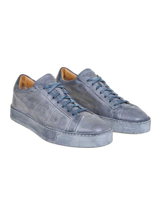 Santoni Sneakers In Blue Leather