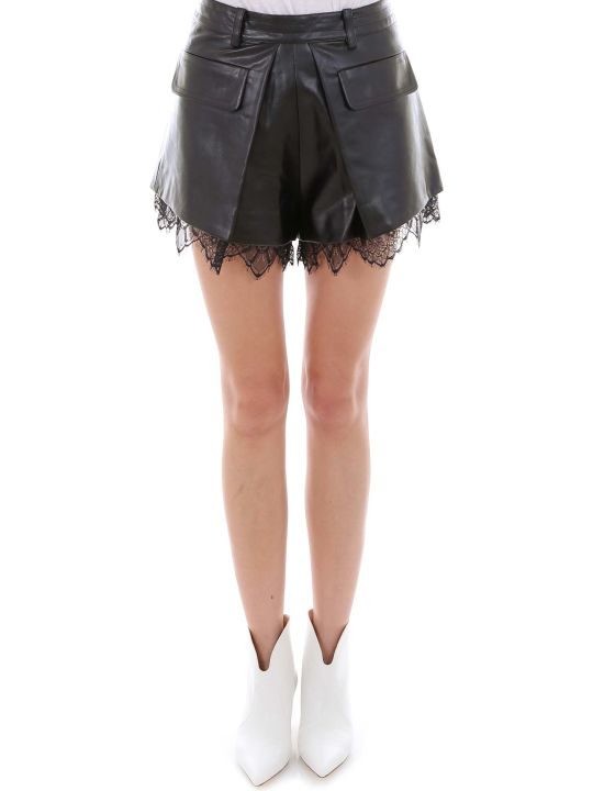 self-portrait Faux Leather Pleat Shorts