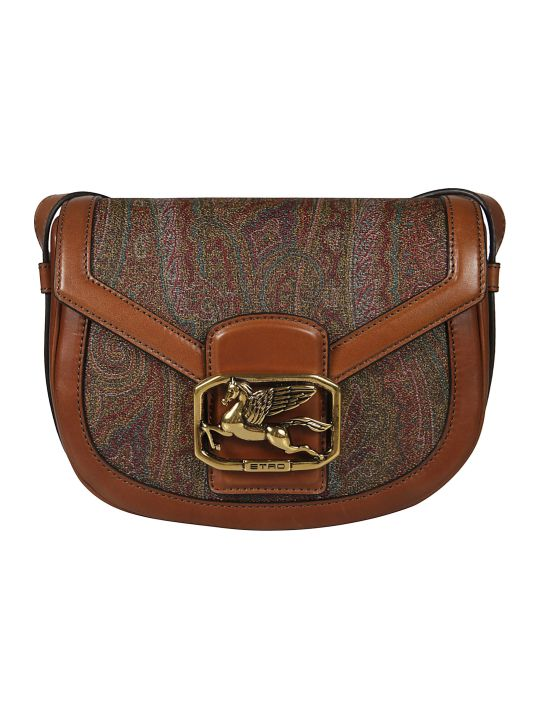 Etro Logo Plaque Paisley Detail Shoulder Bag