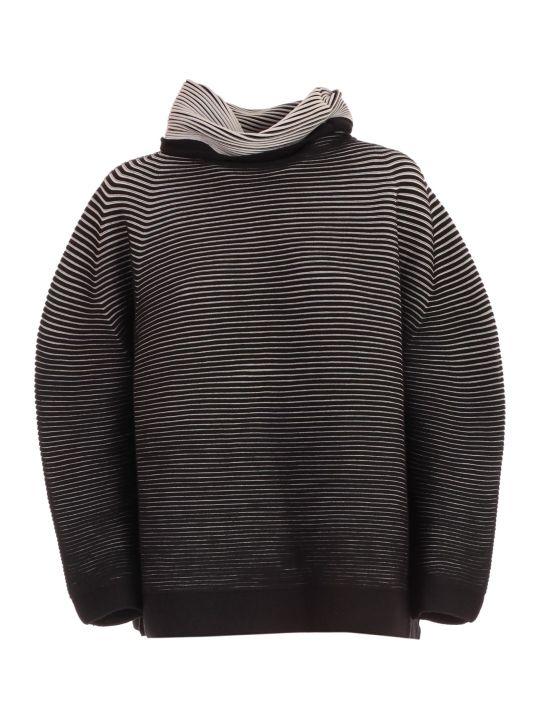 Issey Miyake Top L/s High Neck W/stripe