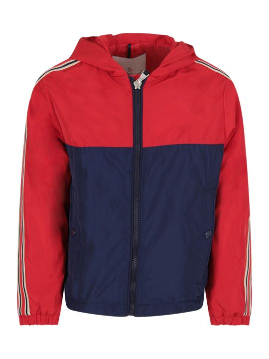 Moncler Red And Blue Boy Windbreaker With Logo