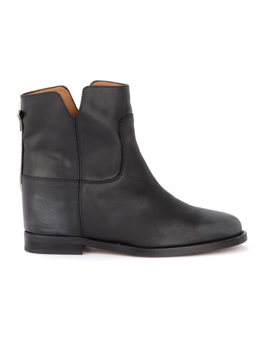 Via Roma 15 Black Leather Ankle Boot With Rear Star