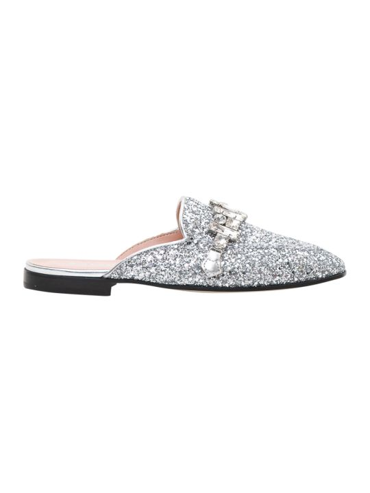 Pollini Glitterd Mules With Crystal Application