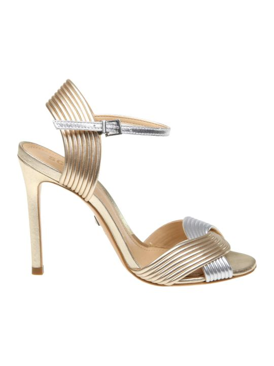 Schutz Leather Sandal In Platinum / Silver Color