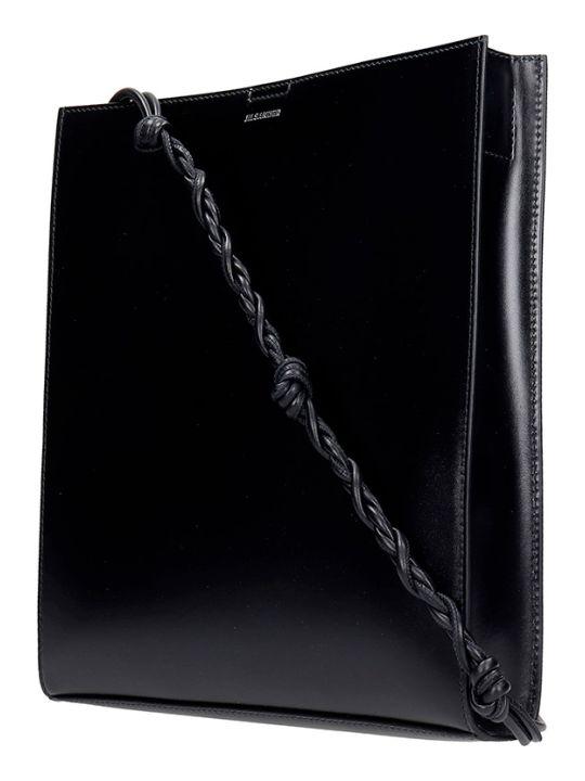 Jil Sander Tangle Md Shoulder Bag In Black Leather