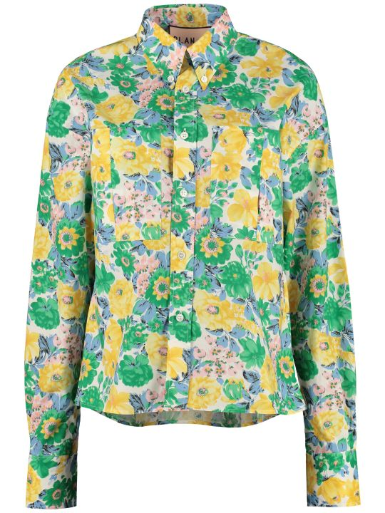 Plan C Floral Print Cotton Shirt