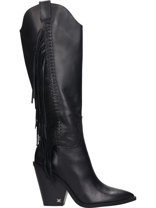 Sam Edelman Imari  Texan Boots In Black Leather