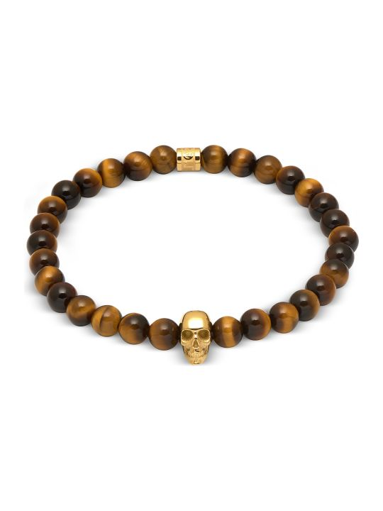 Northskull Yellow Tiger Eye And Gold Atticus Skull Bracelet