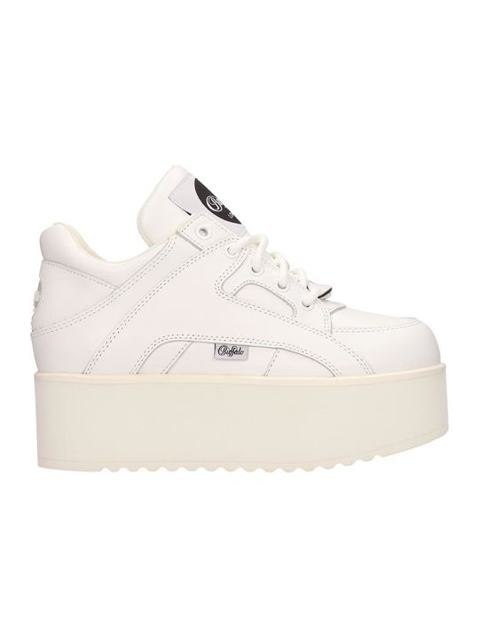 Buffalo White Leather Classic Tower Sneakers