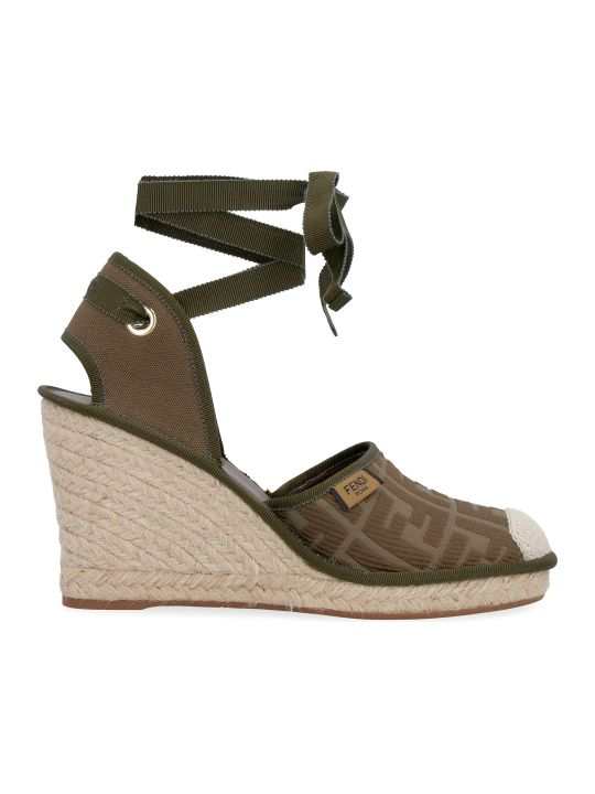 Fendi Jute Wedge Espadrilles