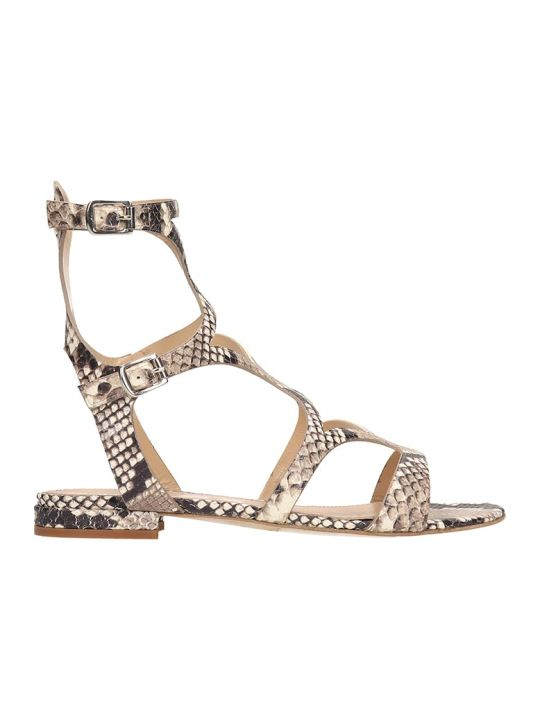 The Seller Python Print Leather Gladiator Sandals