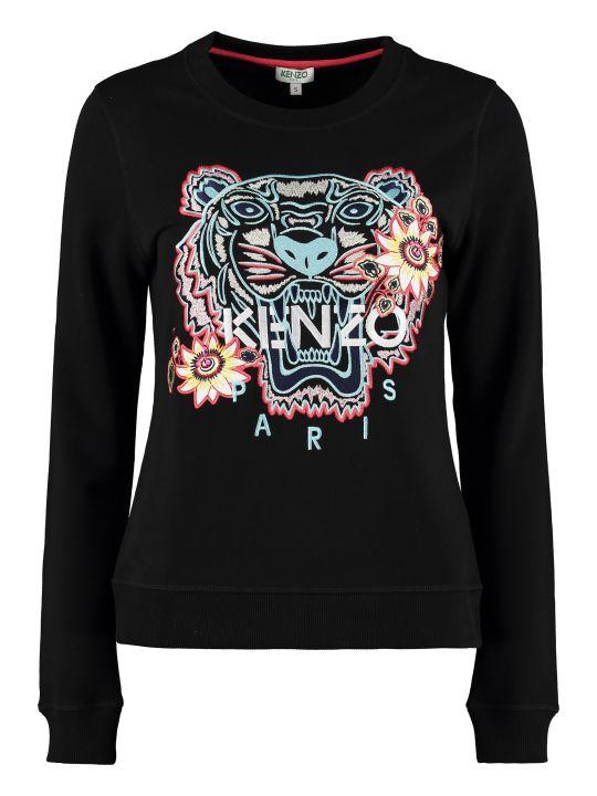 Kenzo Passion Flower Cotton Crew-neck Sweatshirt