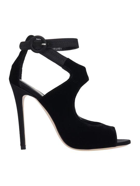 Dei Mille Sandals In Black Velvet