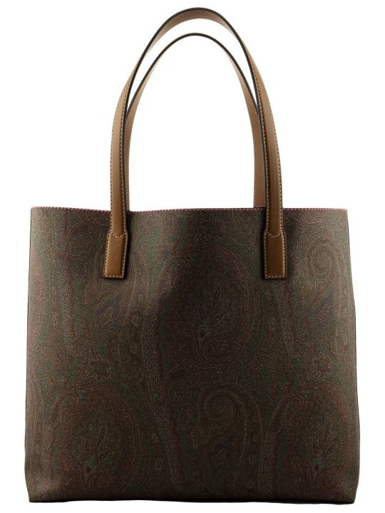 Etro Paisley Print Coated Cotton Tote Bag