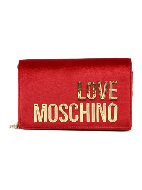 Love Moschino Black Velvet Shoulder Bag With Gold Logo