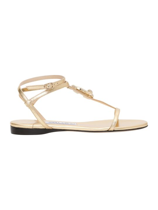Jimmy Choo Alodie Flat Metallic Nappa Thong Sandals With Jc