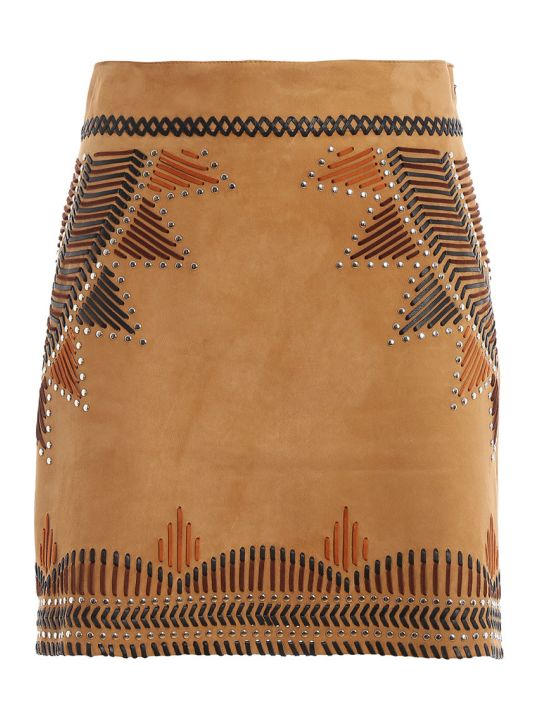Alberta Ferretti High Waist Leather Skirt