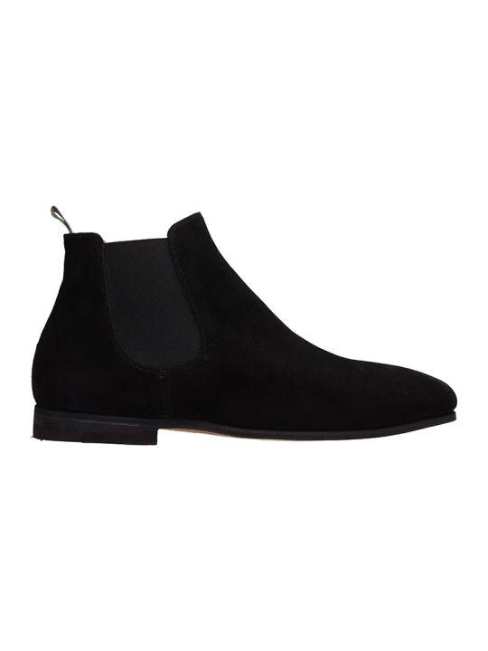 Officine Creative Black Suede Revien Ankle Boots
