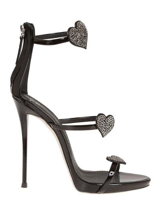 Giuseppe Zanotti Coline Swarovski Heart Sandals