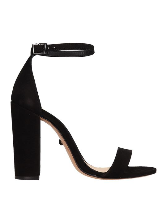Schutz Black Suede Leather Sandals