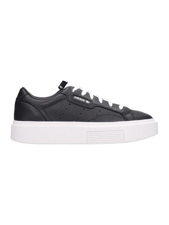Adidas Sleek Super Sneakers In Black Leather