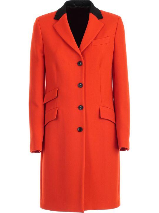 Paul Smith Coat Straight W/leather Collar