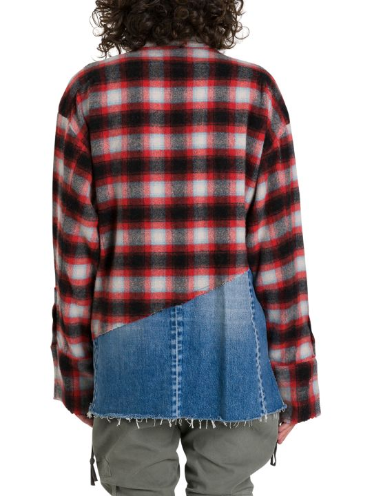 Greg Lauren 50/50 Plaid/denim Boxy Studio Shirt