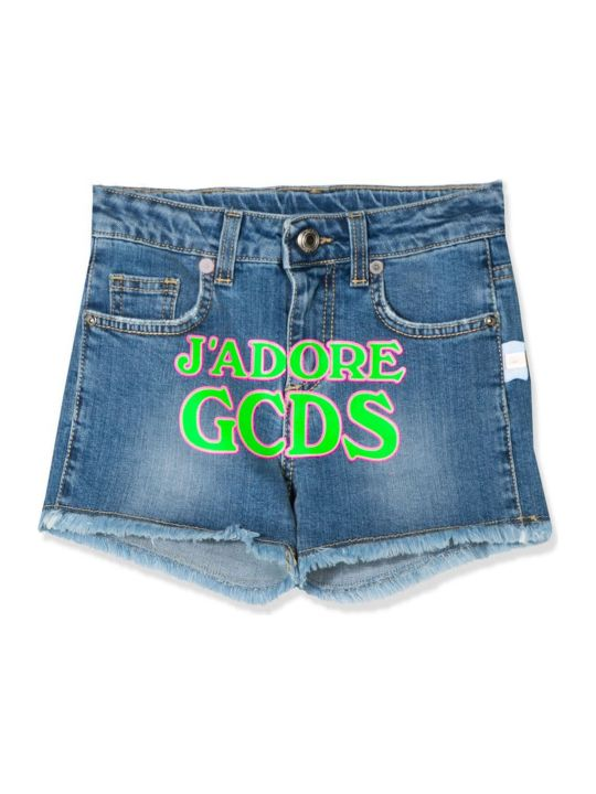 GCDS Blue Cotton Blend Denim Shorts