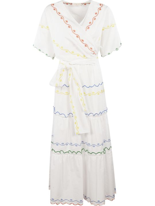 Tory Burch Scalloped Embroidered Wrap Dress