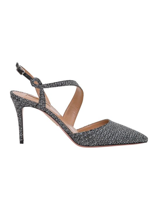 Aquazzura Arden Pump 85 In Stardust Net