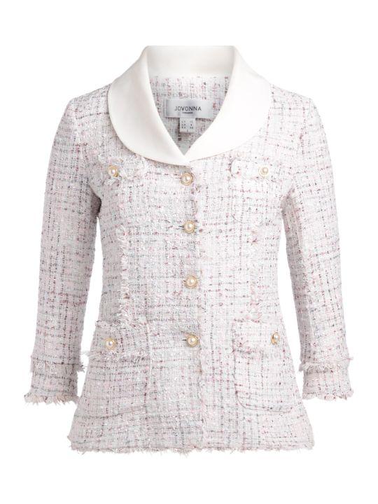 Jovonna Santiago Jacket In White And Pink Tweed