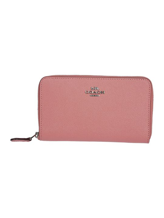 Coach Logo Plaque Zip Around Wallet