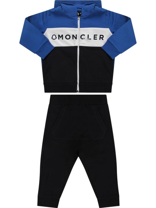 Moncler Blue And Royal Blue Babyboy Suit With Black Logo
