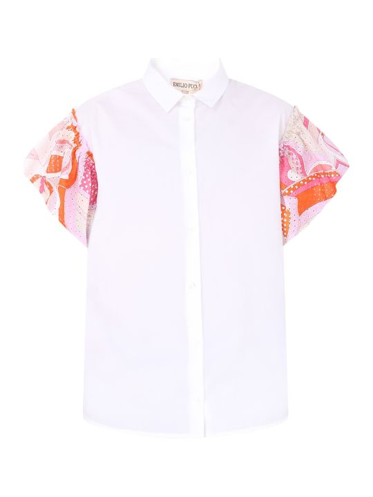Emilio Pucci White Girl Shirt With Colorful Iconic Print