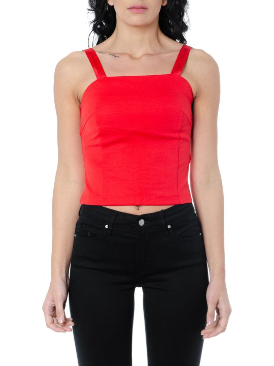 Calvin Klein Red Crepe Tank Top