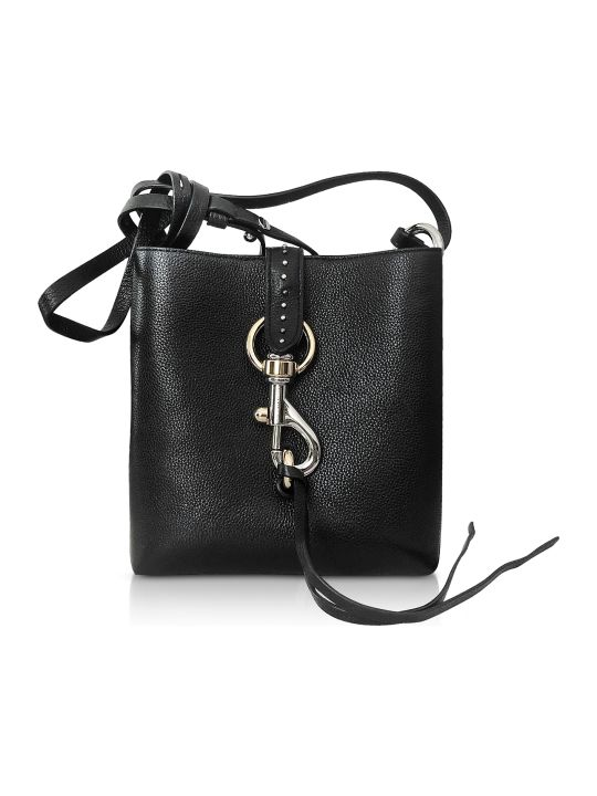 Rebecca Minkoff Megan Mini Black Leather Feed Bag With Studs