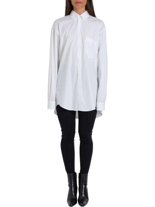 Balenciaga Camicia New Swing In Cotone Con Logo Sul Retro